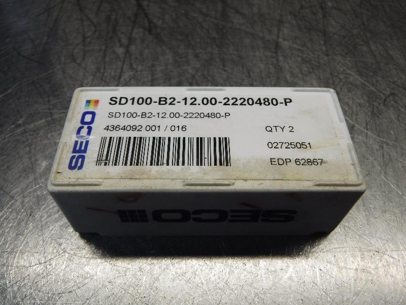Seco Carbide Tip Drill Inserts QTY2 SD100-B2-12.00-2220480-P (LOC968B)