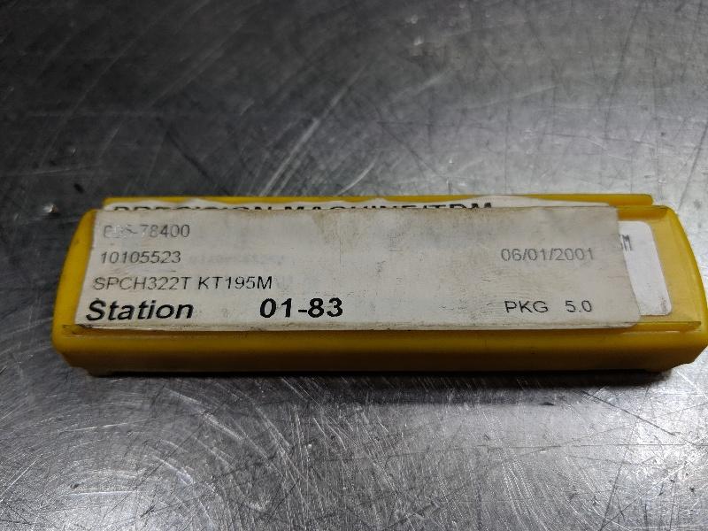 Kennametal Cermet Insert QTY: 5 SPCH 322T / SPCH 090308T KT195M (LOC2986A)
