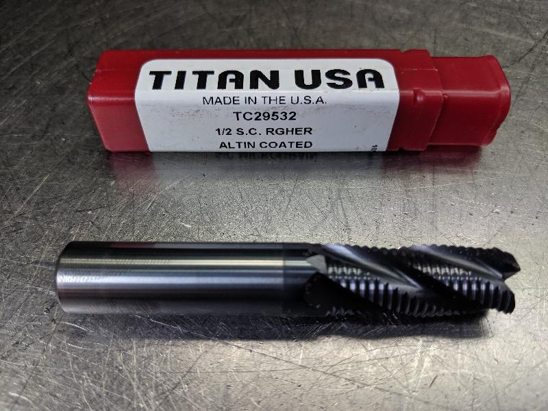 "Titan USA 1/2"" 4FL Carbide fine pitch roughing Endmill TC29532 (LOC2978B)"