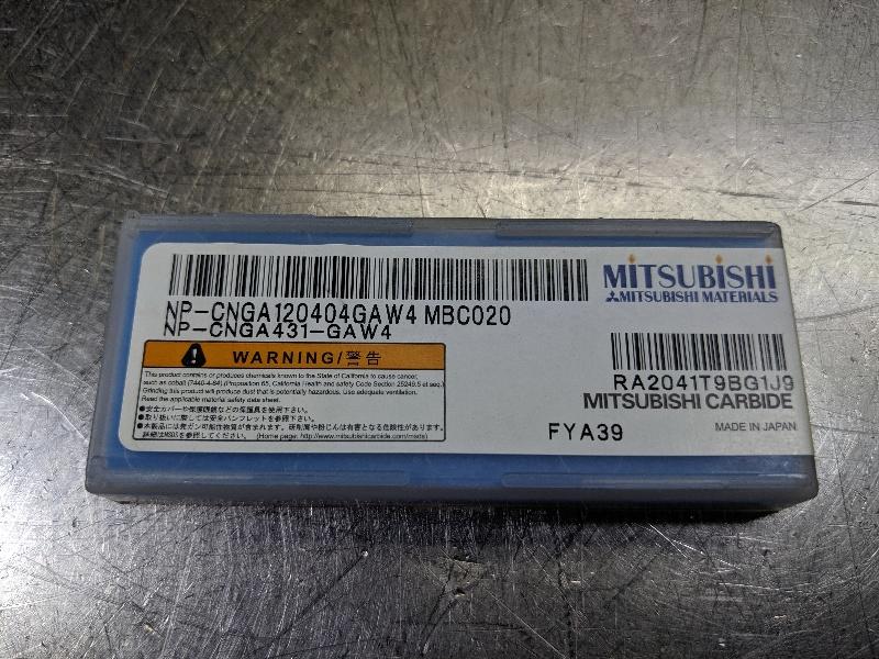 Mitsubishi CBN Carbide Insert QTY:1 NP-CNGA431-GAW4 MBC020 (LOC2963B)