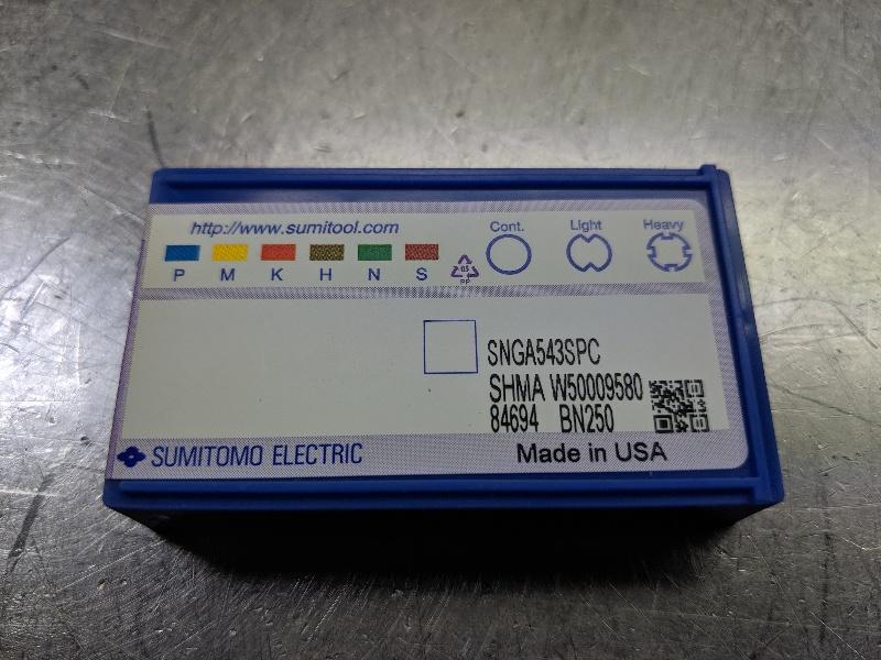 Sumitomo CBN Carbide Inserts QTY:1 SHMA W50009580 / SNGA 543SPC BN250 (LOC2956B)