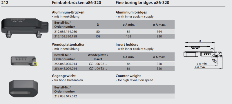 Counter weight for fine boring bridge 212.038.045.012