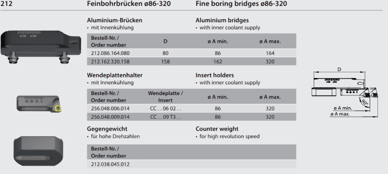 Fine boring bridge Ø 86 - 164 212.086.164.080