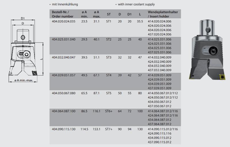 Twin cutter boring head  ST1 / Ø 23.5 -  30.5 404.020.024.035