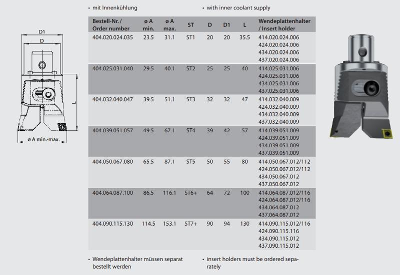 Twin cutter boring head  ST7+ / Ø 114.5 - 153 404.090.115.130
