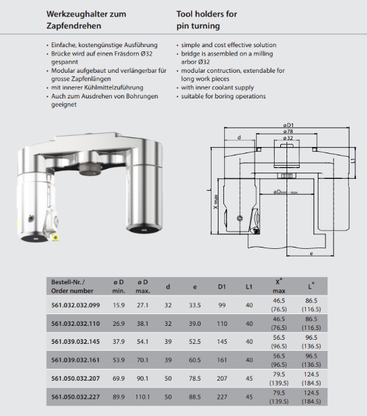 Tool holder for pin turning Ø 32 / ST 4