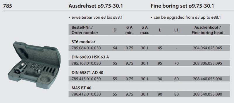 Fine boring set monobloc BT40 / Ø 9.75 - 30.1 786.412.010.030