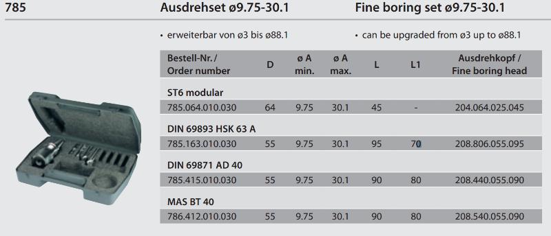 Fine boring set monobloc ISO 40 / Ø 9.75 - 30.1 785.415.010.030