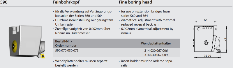 Fine boring head for extension bridge 590.070.030.075