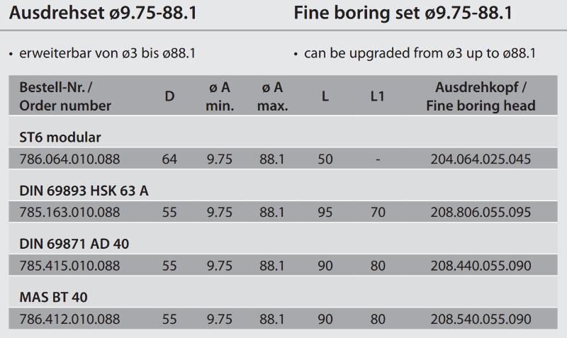 Fine boring set modular ST6 / Ø 9.75 - 88.1 786.064.010.088