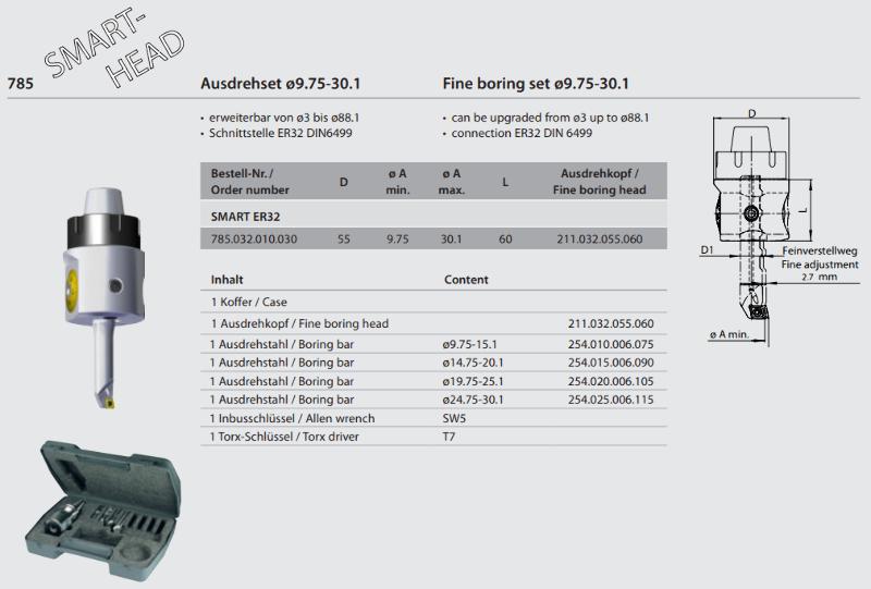 """Fine boring set """"SMART"""" ER32 / Ø 9.75 - 30.1 785.032.010.030"""