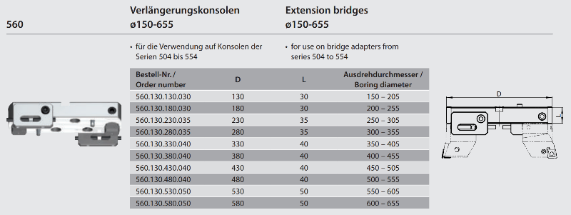 Extension bridge Ø 450 - 505 560.130.430.040