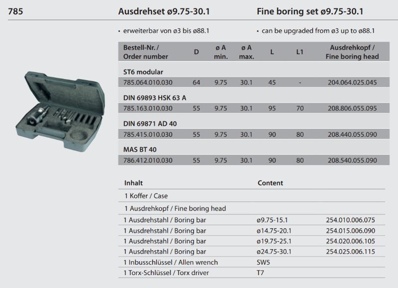 Fine boring set modular ST6 / Ø 9.75 - 30.1 785.064.010.030