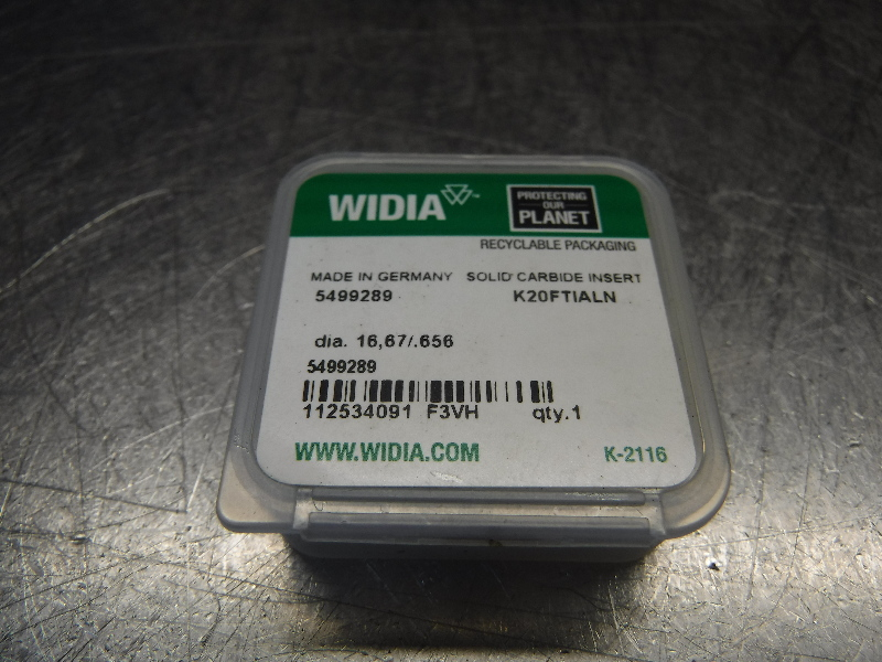 "Widia 0.656"" Replaceable Carbide Tip Insert QTY1 5499289 K20FTIALN (LOC1099B)"