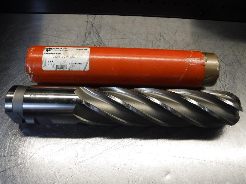 "Brubaker Tool 2"" HSS Ball Nose Endmill 2x2x8 LOC M7 BALL (LOC1254A)"