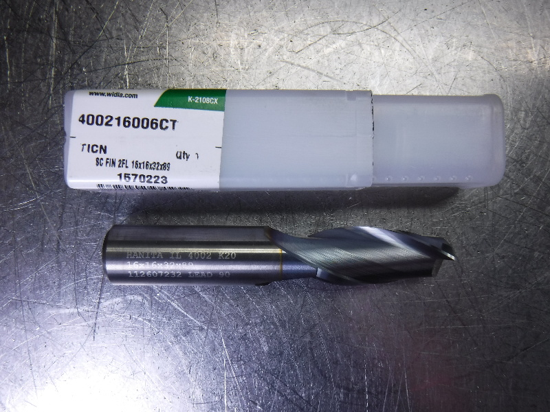Widia 16mm Solid Carbide Endmill 16mm Shank 2 Flute 400216006CT (LOC2075A)