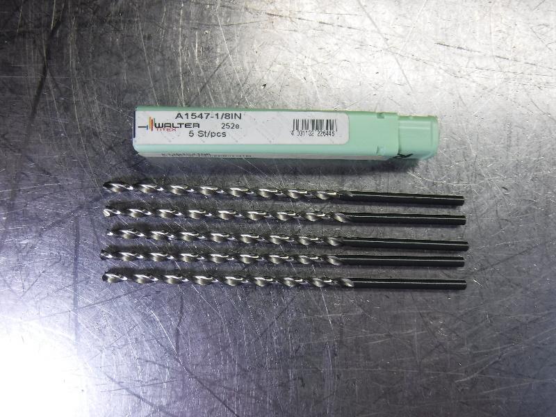 "Walter Titex 1/8"" Extra Long Drill Bits 4.173"" Long QTY5 A1547-1/8IN (LOC530)"