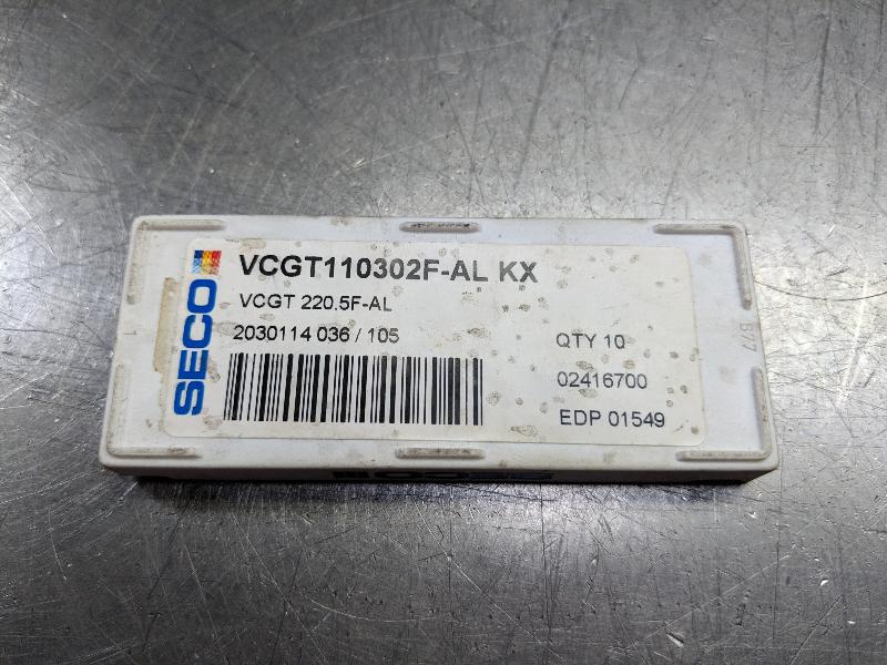 Seco Carbide / Cermet Inserts Qty10 VCGT 110302F-AL / 220.5F-AL KX (LOC2838C)
