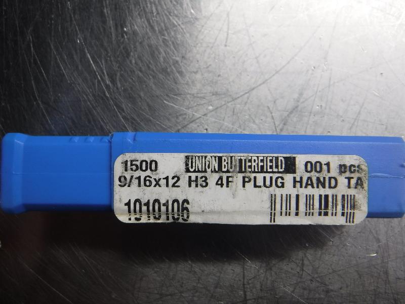 """Union Butterfield 9/16""""x12 H3 4F Plug Hand Tap (LOC1068B)"""