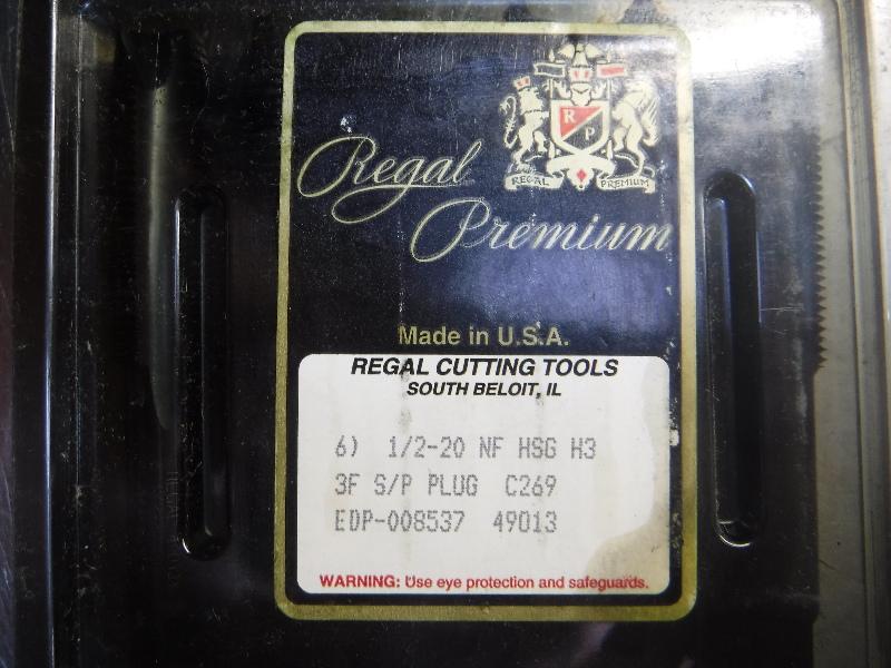 Regal Premium 1/2-20 NF HSG H3 3F S/P PLUG Taps QTY6 (LOC1068C)