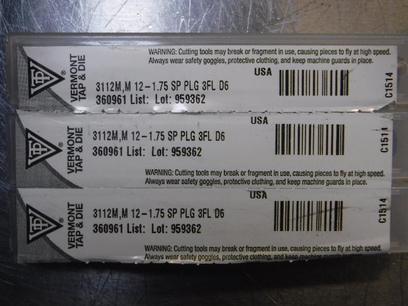 Vermont Tap & Die M12-1.75 SP PLG 3FL D6 QTY.3 (LOC1068C)