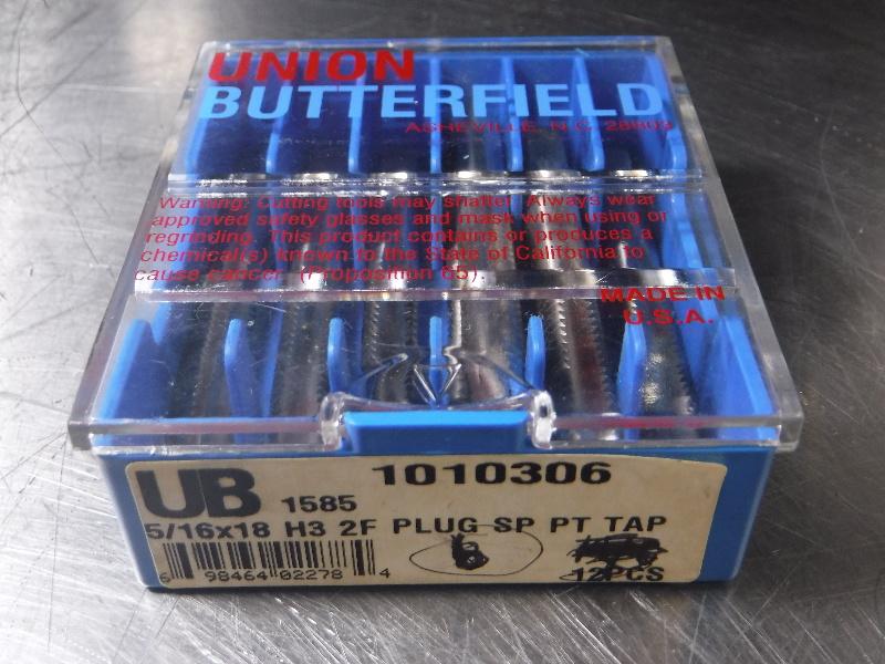 "Union Butterfield 5/16""x18 H3 2F PLUG SP PT TAP HSS QTY8 (LOC1070A)"
