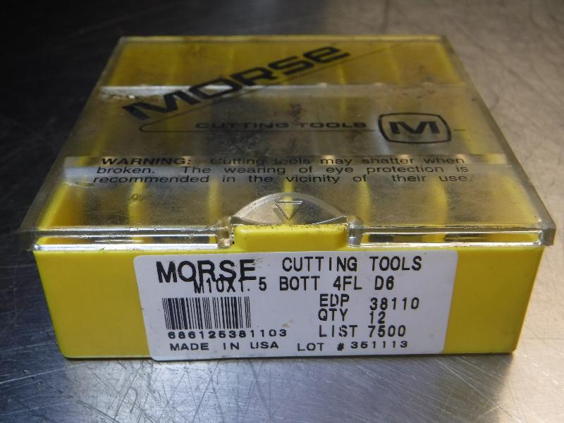 """Morse Cutting Tools HSS Taps M10x1.5"""" BOTT 4FL D6 QTY12 (LOC763A)"""