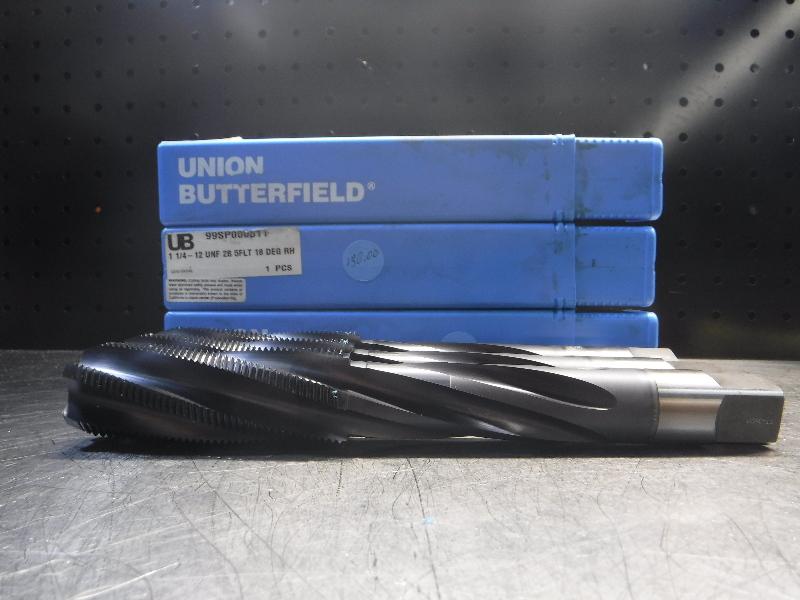 Union Butterfield Tap 1 1/4-12 UNF 2B 5FLT 18 DEG RH QTY3 (LOC1317)