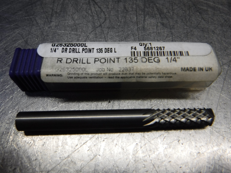 "Stellram 1/4"" Drill Point Diamond Cut Router 1/4"" Shank G26325000L (LOC1548B)"