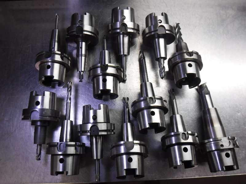 Lot of 13 HSK100 Shrink Fit Tool Holders Various Projections (LOC1596)