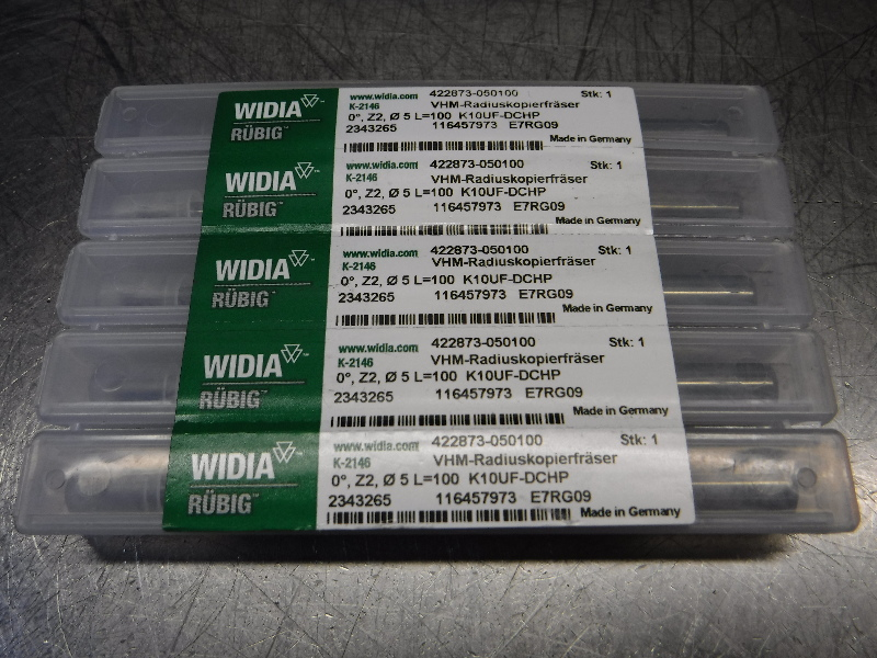 Widia 5mm Carbide 2 Flute Ball nose Endmill QTY5 422873-050100 (LOC343A)