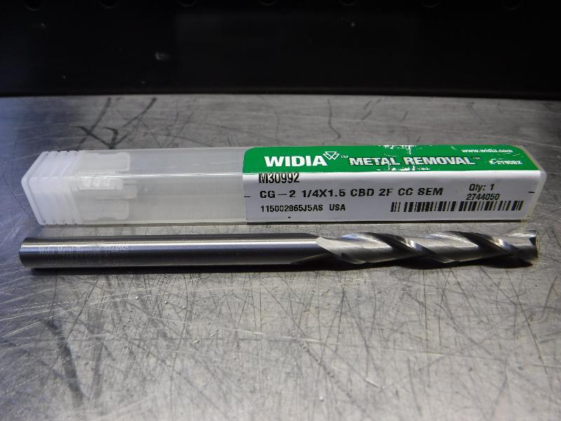 """Widia 1/4"""" 2 Flute Carbide End mill 1/4"""" CG-2 1/4X1.5 CBD 2F CC SEM (LOC1296A)"""