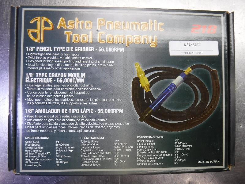"Astro 1/8"" 56,000 RPM Pencil Type Straight Grinder 218 (LOC2837A)"