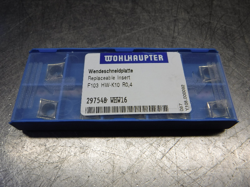 Wohlhaupter Carbide Inserts QTY10 F103 HW-K10 R0,4 WHW16 (LOC1397A)