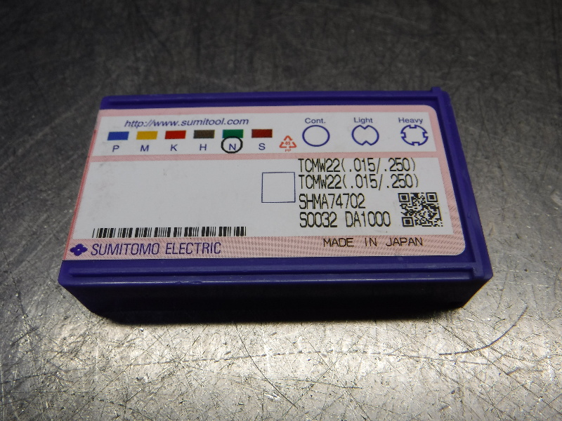 Sumitomo PCD Diamond Tipped Carbide Insert TCMW22(.015/.250) DA1000 (LOC1300B)