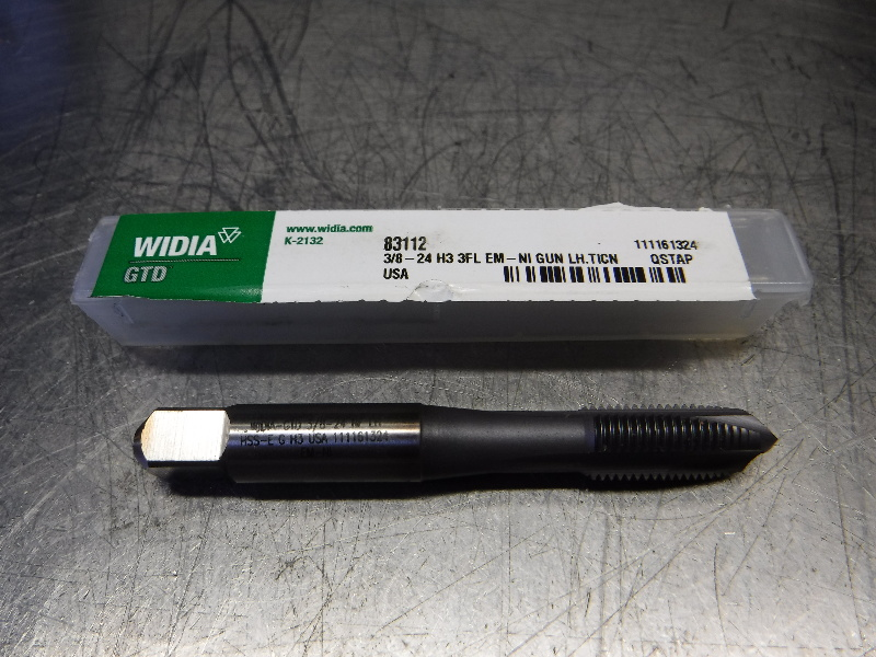 Widia 3/8-24 HSS 3 Flute Spiral Point Tap 3/8-24H3 3FL EM-NIGUNLH.TICN (LOC1823A)