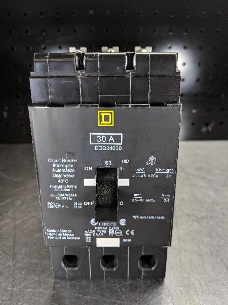 Square D E-Frame Breaker 480Y/277V, 18/25kA Circuit Breaker EDB34030 (LOC2440)