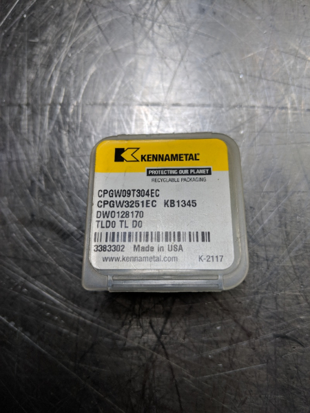 Kennametal CBN Tipped Carbide Insert CPGW 3251EC KB1345 QTY:1 (LOC625)