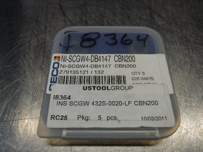 Seco Carbide Insert QTY:5 SCGW4-DB4147 CBN200 (LOC1167A)