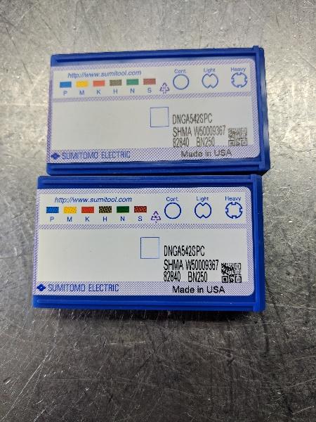 Sumitomo CBN Carbide Insert QTY:2 DNGA542SPC BN250 (LOC1178C)