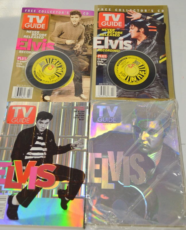 4 -3 Elvis Collector's C D  TV Guide and 1 Collector's Edition Elvis TV  Guide -Bag 8   Surplus Trading Corporation