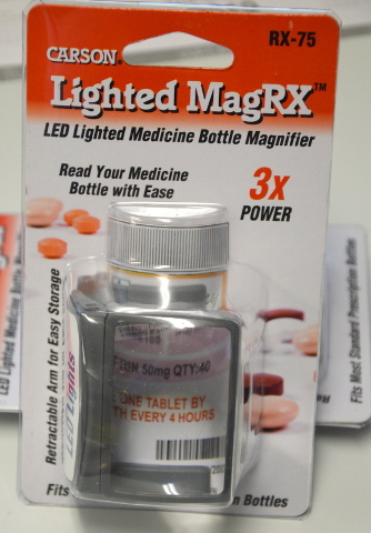Carson Lighted MagRX - RX-75 3X Power - Fits most standard RX Bottles - 2 pcs.