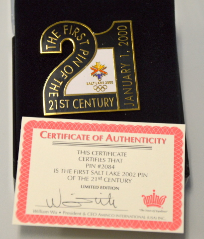 """Salt Lake City Olympic Pin """"No 2084 is the first 2002 of the 21st Century - LE"""