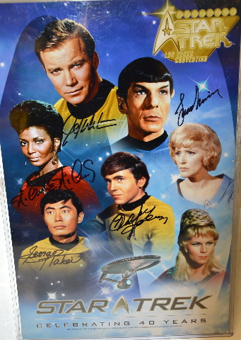 Star Trek Poster Original 5 Signed With Protective Cover