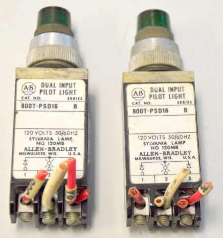 Allen Bradley 800T-PST16-B - Used - Push to test Pilot Light - 2 Green.