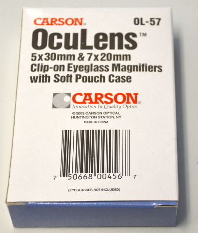 Carson OcuLens 0L-57, 5x30mm & 7x20mm Clip on Eyeglass Magnifier with Pouch.
