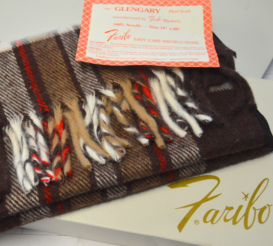 """The Glengary Plaid Scarf by Faribo 12"""" x 60"""" 100% Acrylic Brown/White/Red Plaid"""