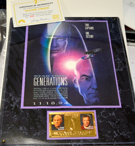 "Star Trek Generations Plaque  ""Two Captains, One Destiny"". #3153 of a LE Model 3055P"