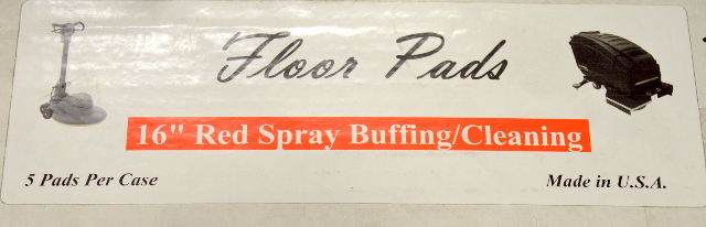 "16"" Red Spray Buffing/Cleaning Pads - 5 per case. #10516. New Old Stock."