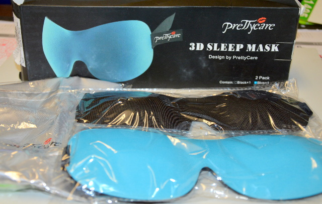 PrettyCare 3D Sleep Mask, One blue and one black with Ear Plugs and carry bag.